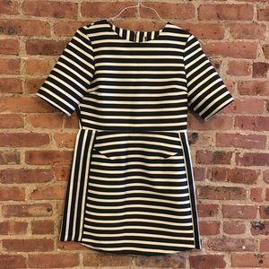 Topshop Satin Stripe A-line Dress Black White 8